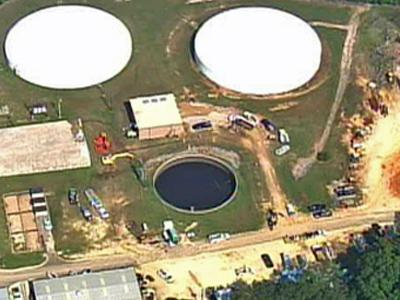 The Harnett County water treatment in Lillington. A pipe break there on Sunday, June 15, 2008, cut off the water supply to Holly Springs and Fuquay-Varina in Wake County.