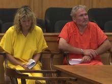 Sandra McMillan, left, and her husband Brice McMillan never acknowledged the other during their first court appearance on murder charges in connection with the death of their son, Tyler McMillan, 13.