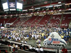 An estimated 5,000 young soccer players from all across the southern United States gathered at the RBC Center in Raleigh for the opening ceremonies for the U.S. Youth Soccer Southern Regional Championships on June 19, 2008.