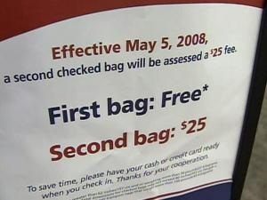 More airlines are starting to charge a fee for checking baggage in an effort to make up for the cost of fuel.