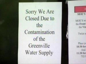 About 500 Greenville restaurants were forced to close temporarily because of a contaminated water supply.