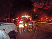 One person suffered serious burns, and 13 people were displaced by a house fire at 2514 Clark Ave. late Friday, June 28, 2008.