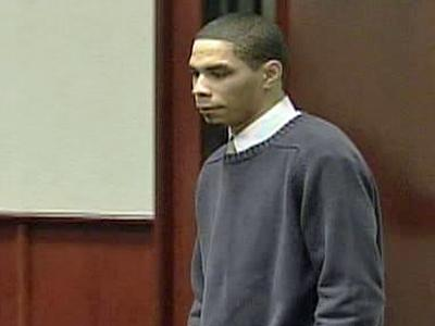 Jakiem Wilson, accused of killing his wife Nneka Wilson in February 2007, appears in a Wake County courtroom for the first day of his murder trial on June 30, 2008.