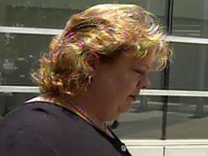 Diana Palmer walks into the Durham Police Department on July 2, 2008.
