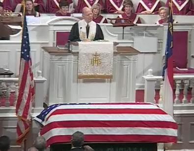 Funeral service for former U.S. Sen. Jesse Helms on July 8, 2008.