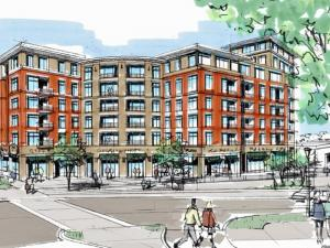 A developer has proposed a five- to nine-story mixed-use building for the corner of Oberlin Road and Clark Street.