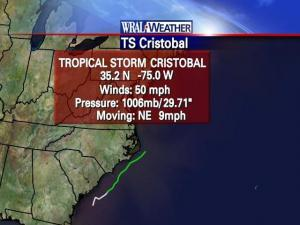 The latest statistics on Tropical Storm Cristobal on July 20, 2008.