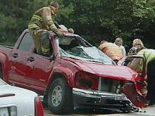 A pickup truck, driven by Louis Mahler Joyner, 21, of Louisburg, that collided into the vehicle that killed James and Mary Holmes on June 27, 2008. (Image courtesy of The Franklin Times)