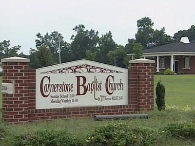 The steeple off Cornerstone Baptist Church was damaged during a storm Thursday evening.