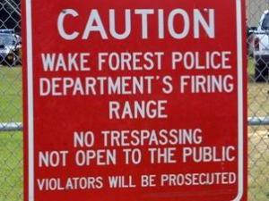 A sign at the Wake Forest Police Department's shooting range, off the 1200 block of North White Street. (Photo courtesy of www.wakeforestnc.gov)