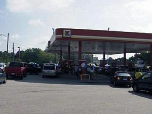 Manna Church's gas buy down caused a bit of a traffic jam Thursday.