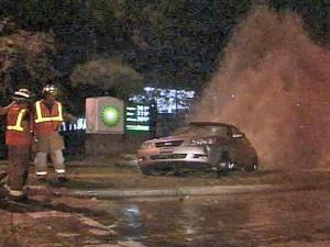 After being hit by a cab, a car struck a fire hydrant, creating a geyser at Poole and New Hope roads around midnight Saturday, Aug. 31, 2008.