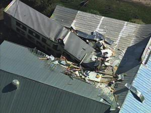 Youngsville and nearby areas were without power Tuesday morning after a tractor-trailer plowed into a power pole and Johnson's Farmers Market Restaurant.