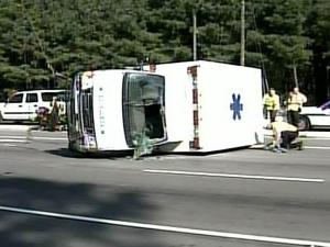 An ambulance carrying a patient from Hoke County crashed on Raeford Road in Fayetteville on Sept. 2, 2008.