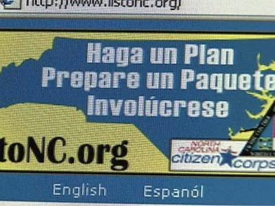 A screenshot of Redy North Carolina's Spanish Web site.