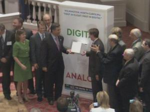 Wilmington officials flip the big switch to convert all local television to a digital signal.
