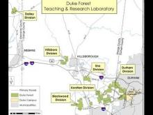 Map shows divisions of Duke Forest. (Duke University map)