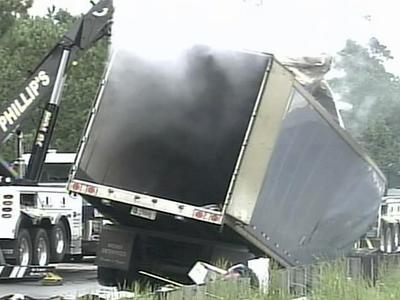 This tractor-trailer caught fire in Fayetteville, which backed up traffic and closed two northbound lanes on Interstate 95.