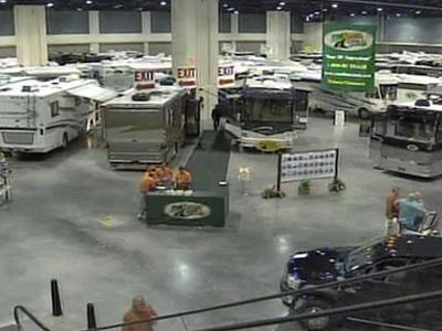 RVs and campers were on sale at a trade show at the Raleigh Convention Center on Sept. 20, 2008.