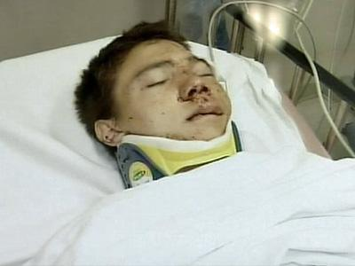 A photo of DJ Merwitz taken after he was transported to the hospital.