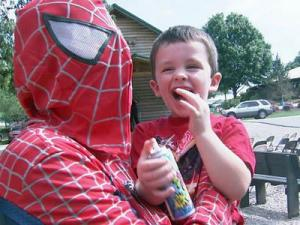 Matthew Baldwin, 4, at the superhero-themed fundraiser in Raleigh held in his honor on Sept. 27, 2008.