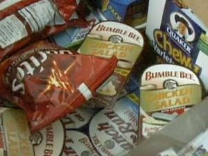 A variety of food fills the backpack of needy students in Rolesville