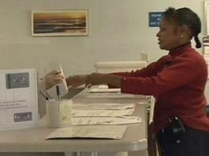 Vance County resident Arlene Stokes visits the Employment Security Commission office on Oct. 2, 2008.
