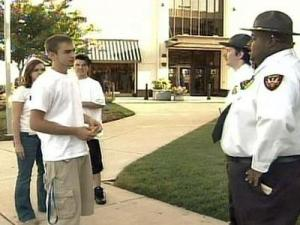 Teens under 18-years-old are turned away from the Triangle Town Center mall on Friday, Oct. 3, 2008. The mall's new curfew prohibits people under 18 in the mall on Friday and Saturday nights without an escort.