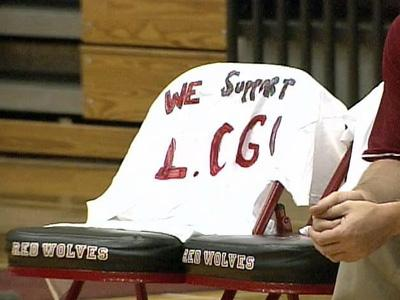 Laurie Calder-Green coach's chair was empty during a volleyball game Monday afternoon.