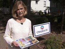 Grace Stroud says someone threw a packet of material attacking Sen. Barack Obama on her lawn near a sign supporting the Illinois lawmaker.