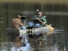 Texas EquuSearch crews use sonar equipment to search for missing Stem mother Kelly Morris on Oct. 18, 2008.