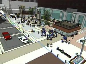 A still image from a computer animation depicts what City Plaza will look like when completed.
