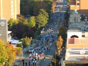 A line of runners goes down Glennwood Avenue during the City of the Oaks Marathon in Raleigh Sunday, Nov. 1, 2008. (Photo submitted by: Tony Harrington)