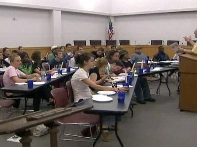 Students attend the Alive at 25 program at Smithfield's town hall on Nov. 6, 2008.