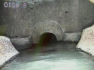 A camera shows the inside of a Raleigh sewer.