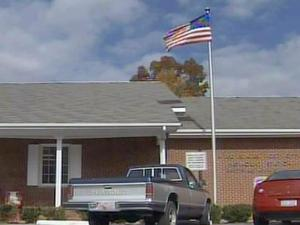 The flag flew outside the Haymount Post Office on Nov. 12, 2008, but the pole had no standard on Veterans Day.