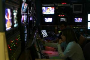 A team of technicians keeps all the feeds from satellites and studios broadcasting seamlessly.