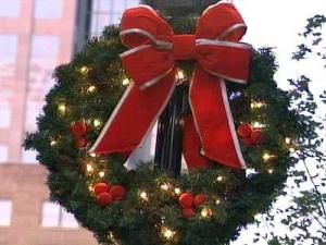 A wreath hangs in downtown Raleigh the day before the Raleigh Christmas Parade.