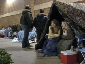 Shoppers camp out in front of the Best Buy in Garner on Nov. 27, 2008, in anticipation of Black Friday sales.