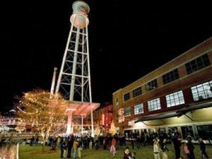 The lighting of the Lucky Strike Tower on the American Tobacco Campus in 2007.