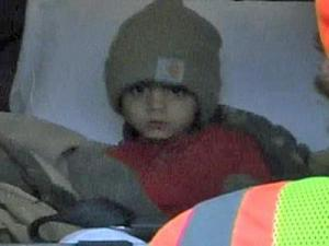 Jaylynn Thorpe, 3, who went missing from a Virginia home near the state border on Dec. 5, 2008. This image shows Jaylynn after he was found a day later.