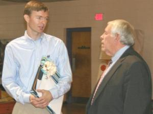 "English teacher Matthew Bristow-Smith, Edgecombe County Public Schools' ""Teacher of the Year,"" was surprised at a school assembly to learn that he had been selected as the state's North Central Region Teacher of the Year in 2008."