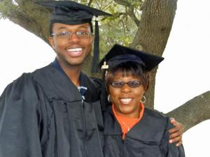Melva Green and her 29-year-old son, Kevin, received bachelor degrees in health-care management from Mount Olive College Saturday, Dec. 13, 2008. The mother and son both work at Pitt County Memorial Hospital. (Submitted by Mount Olive College)