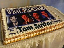 The WRAL staff gathered to celebrate Tom Suiter and his 37 years on the sports team Thursday, Dec. 18, 2008.