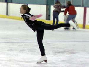 Holly Bezdany practices her figure skating at the Ice Plex in Raleigh.