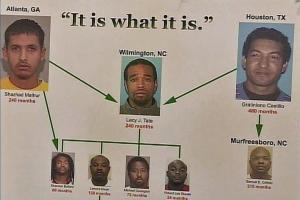 A poster illustrates the drug rings busted by local and federal prosecutors and law enforcement. The supply lines shipped drugs from Atlanta and Houston into Wilmington and New Hanover County.