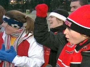 N.C. State students bundled up on Lee Field on campus. They were camping out on Jan. 16, 2009 to get tickets for the upcoming N.C. State-UNC game.