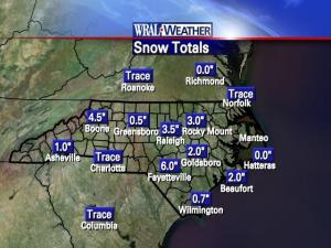 Snowfall totals in North Carolina for Jan. 20, 2009