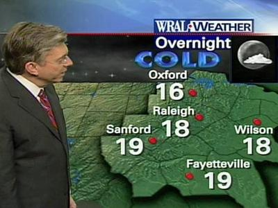 Temperatures cold dip down to 18 degrees overnight in Raleigh.