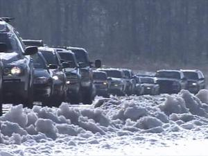 A 3-mile back-up formed on N.C. Highway 55 in Apex and Holly Springs, going into the Research Triangle Park, on Wednesday, Jan. 21, 2009. Cautious commuters drove slowly to protect themselves from black ice.